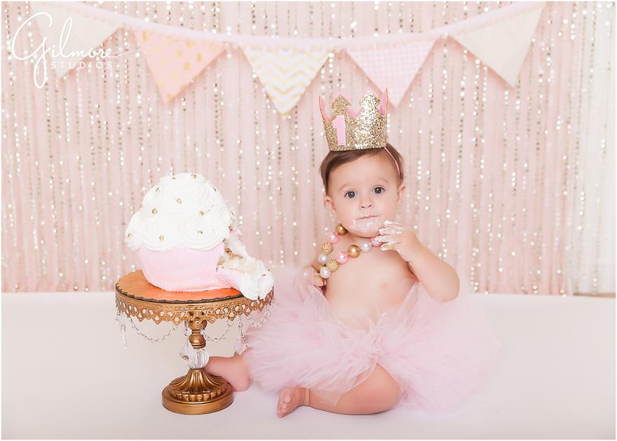 Pink And Gold St Birthday Cake Smash