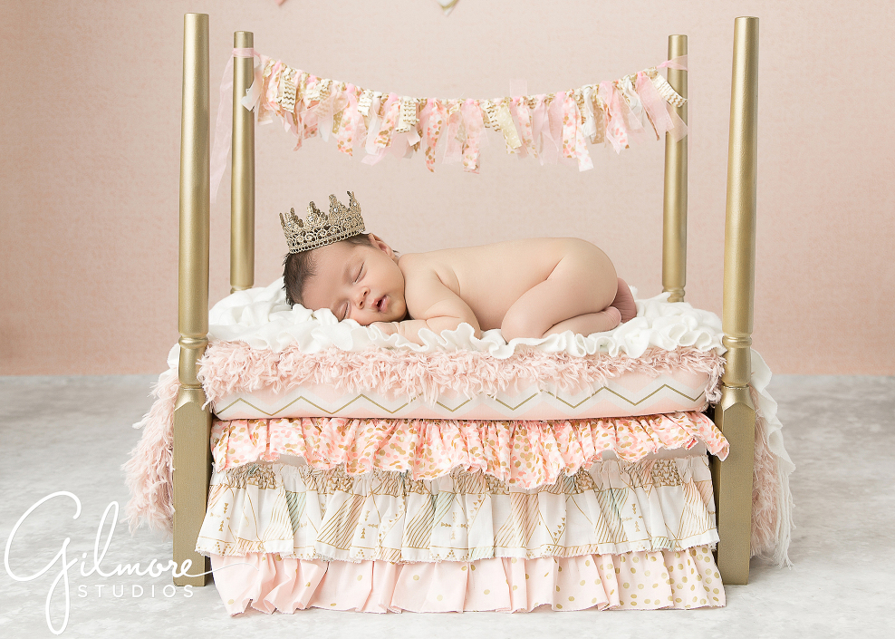 11-gilmore-studios-gold-baby-bed-portrait-photo-princess-crown-sleepy-baby