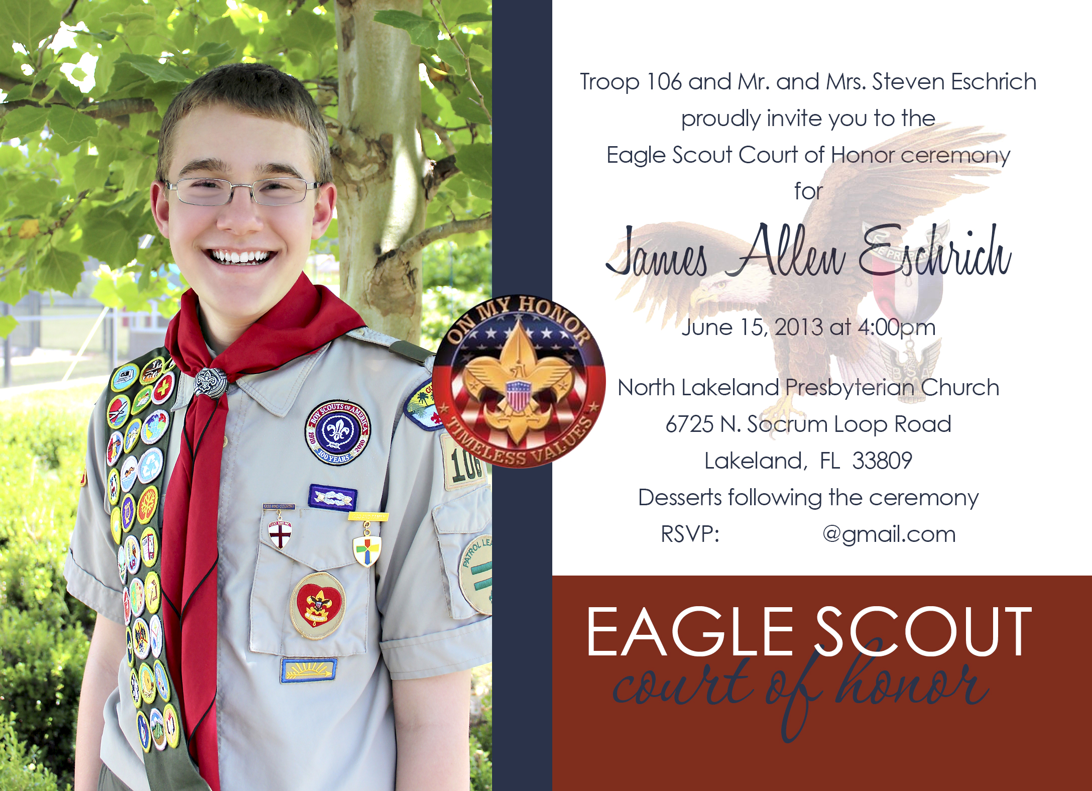 Eagle Scout Court Of Honor Invitation Gilmore Studios