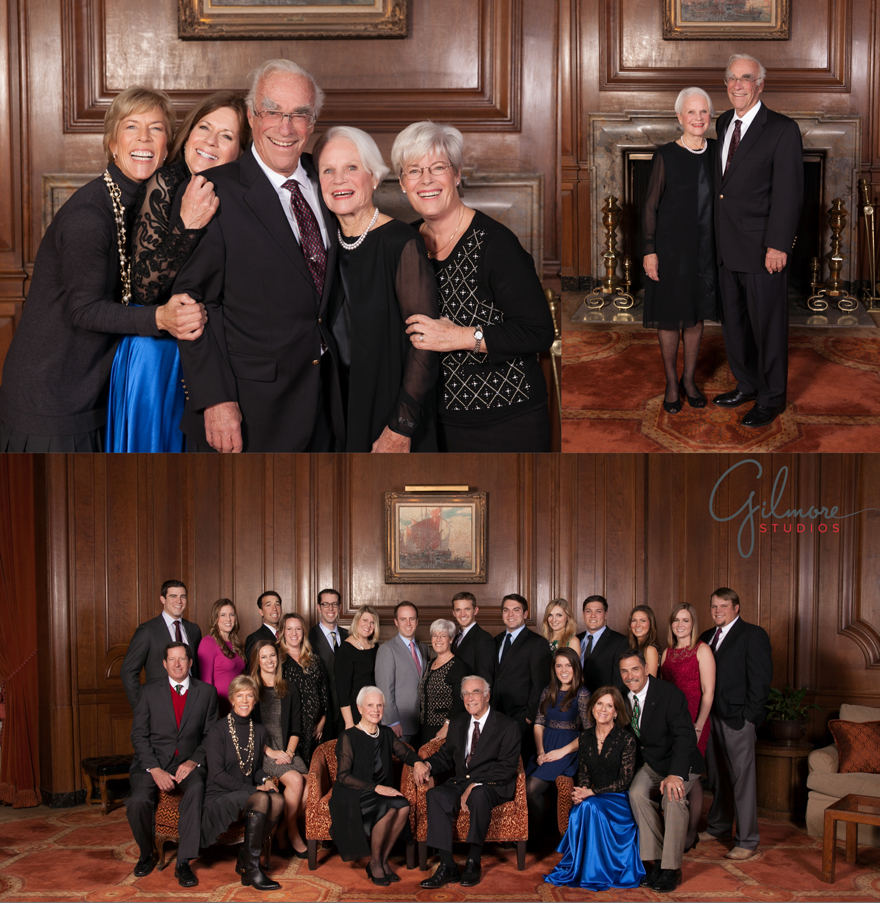 Holiday family reunion portrait at the california club los angeles gilmore studios wedding family newborn maternity and event photographers