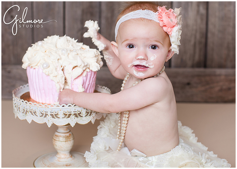 Vintage theme one year old cake smash newport beach baby photographer
