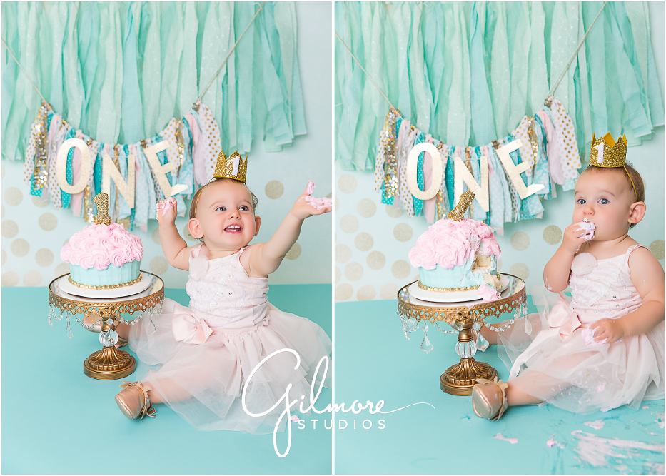Garden Family Portrait First Birthday Cake Smash Session Orange County Baby Photographer