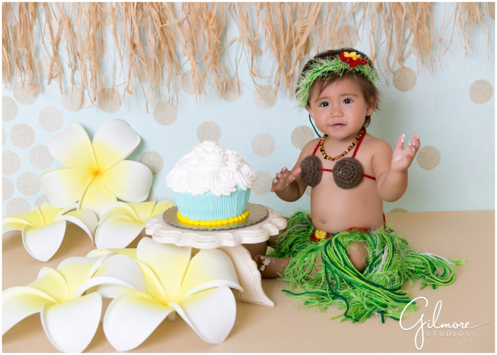 1st birthday cake smash session hawaiian theme costa mesa baby photographer gilmore studios wedding family newborn maternity and event