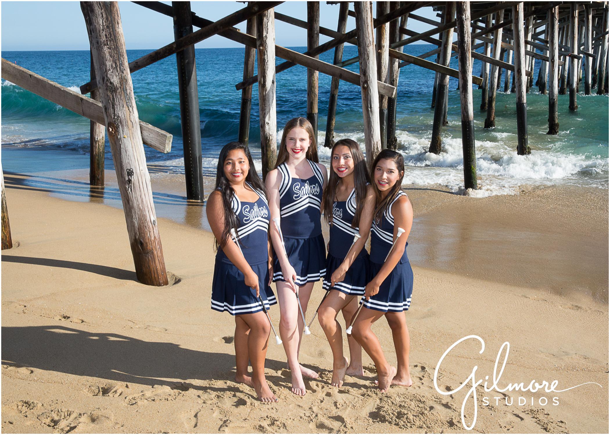 2 newport beach balboa pier cheer squad team photo gilmore studios - newport beach wedding photographer